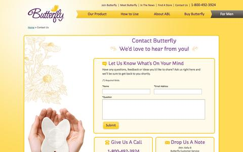 Screenshot of Contact Page butterfly.com - Butterfly ® - Contact Us | Butterfly Body Liners - captured Sept. 12, 2014