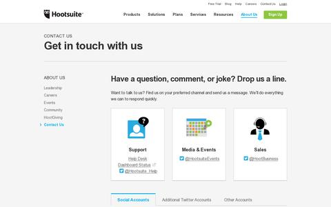 Screenshot of Contact Page hootsuite.com - Contact Us - captured July 20, 2014