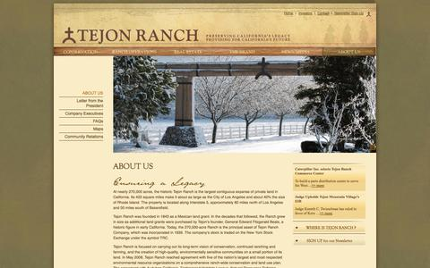 Screenshot of About Page tejonranch.com - About Us | Tejon Ranch - captured Oct. 7, 2014