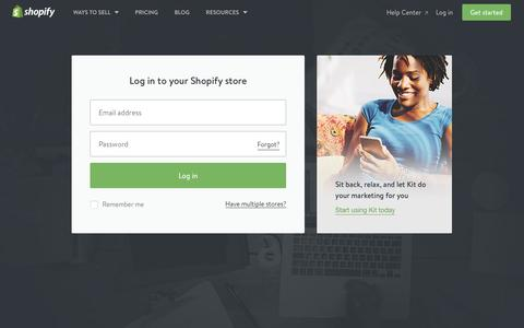 Screenshot of Login Page shopify.com - Login — Shopify - captured Sept. 7, 2016