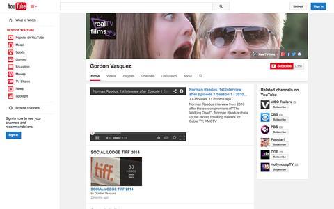 Screenshot of YouTube Page youtube.com - Gordon Vasquez  - YouTube - captured Oct. 26, 2014