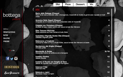 Screenshot of Menu Page bottega.ca - Menu - Bottega Pizzeria - captured Sept. 24, 2015