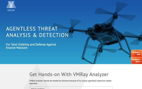 Screenshot of Trial Page vmray.com - Try VMRay Analyzer - Free Trial - captured Sept. 30, 2018