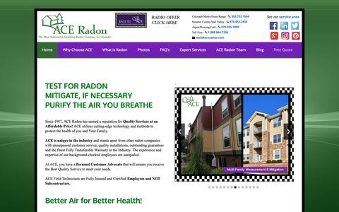 Screenshot of Home Page aceradon.com - Ace Radon, Radon, Radon Mitigation, radon experts, mitigation systems, Front Range, Colorado Radon, Colorado, Radon Gas, colorless gas, radon professional, radon specialist, radon contractors, building, development, pre-construction, radon test, rado - captured Nov. 12, 2018
