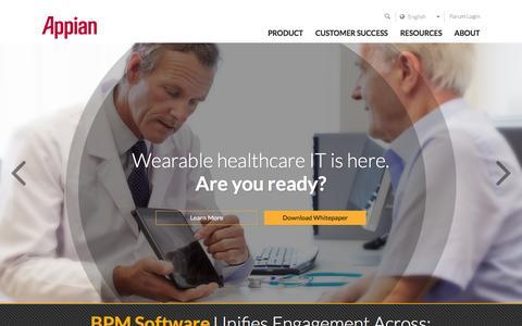 Screenshot of Home Page appian.com - Business Process Management (BPM) | Appian - captured Jan. 27, 2016