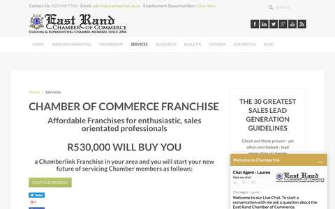 Screenshot of Services Page chamberlink.co.za - East Rand Chamber of Commerce and Industry - Chamberlink - Services - captured Oct. 19, 2016