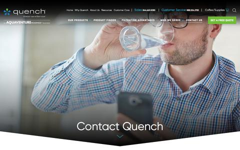 Screenshot of Contact Page quenchwater.com - Quench Water - Contact Us - captured July 31, 2018
