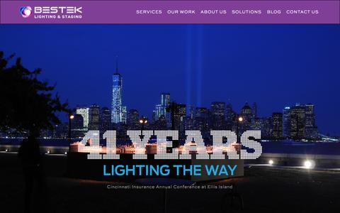 Screenshot of Home Page bestek.com - Bestek New York City Event Lighting | Design Lighting Staging - captured Sept. 10, 2015