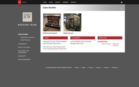 Screenshot of Case Studies Page rodgerswade.com - Store Fixture Display Manufacturers | Retail Environment Portfolio - captured Jan. 11, 2016