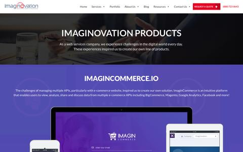 Screenshot of Products Page imaginovation.net - Products - Imaginovation - captured Sept. 9, 2016