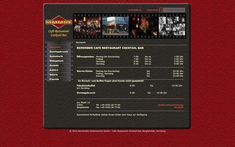 Screenshot of Home Page remember-bargteheide.de - Remember Gastronomie GmbH - Cafe Restaurant Cocktail Bar, Bargteheide, Hamburg - Startseite - captured June 8, 2016