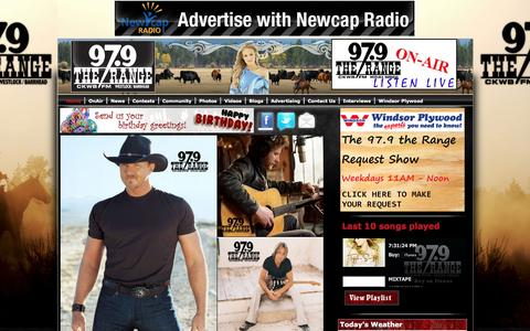 Screenshot of Home Page 979therange.ca - 97.9 The Range |- Welcome to 97.9 The Range - captured May 24, 2016