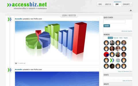 Screenshot of Login Page accessbiz.net - Welcome to AccessBiz Network - captured Oct. 4, 2014