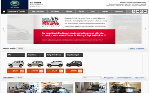 Screenshot of Home Page Contact Page Menu Page Hours Page landroverchantilly.com - Rosenthal Land Rover Chantilly- Reston- Sterling-Leesburg- Centreville- Fairfax- Oakton- Manassas-Virginia - captured Oct. 6, 2014