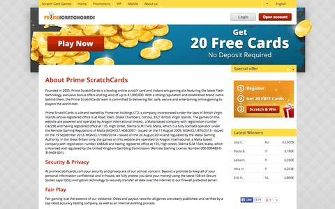 Screenshot of About Page primescratchcards.com - About PrimeScratchCards - captured July 24, 2015