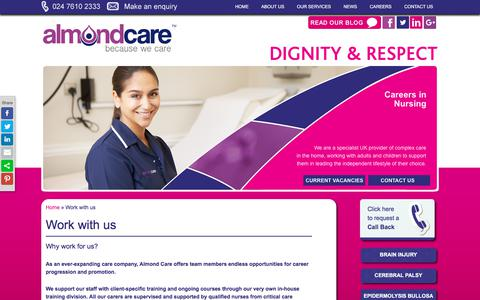 Screenshot of Jobs Page almondcare.co.uk - Work with us | Almond Care - captured July 29, 2018