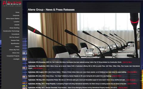 Screenshot of Press Page aliensgroup.in - Aliens Group Reviews | Aliens Group News Press Updates | Aliens Space Station Reviews | Aliens Group Complaints - captured Sept. 19, 2014