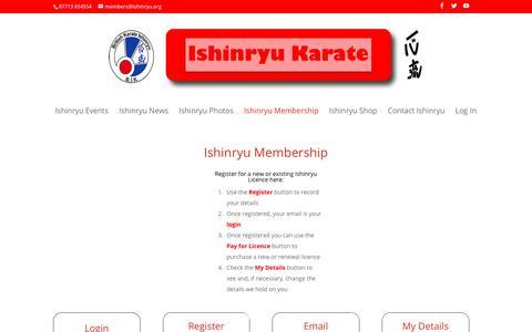 Screenshot of Login Page ishinryu.net - Ishinryu Members | An Ishinryu Karate Association Website - captured Dec. 1, 2018