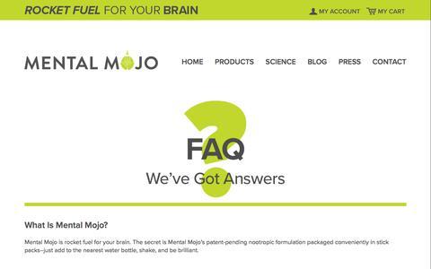 Screenshot of FAQ Page mentalmojo.me - Mental Mojo FAQ | Mental Mojo - captured Sept. 20, 2018