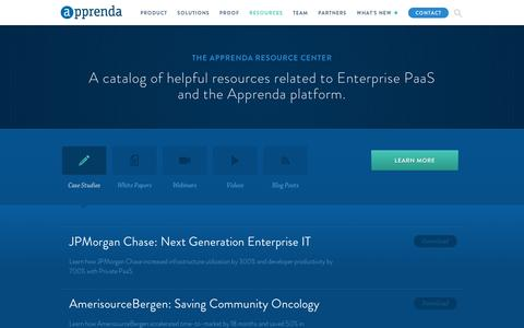 Screenshot of Case Studies Page apprenda.com - PaaS Resource Library | Platform as a Service Resources | Apprenda - captured Sept. 11, 2014