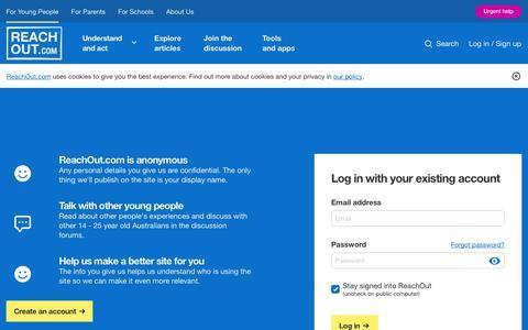 Screenshot of Login Page reachout.com - Log in | ReachOut Australia - captured Oct. 21, 2018