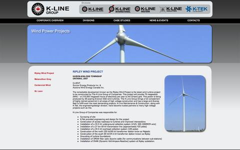 Screenshot of Case Studies Page k-line.ca - K-Line Group of Companies: Case Studies: Wind Power Projects: Ripley Wind Project: wind turbine, surveying, transformer station, OPGW fiber optic skywire, high voltage projects, Enercon E82 - captured Oct. 3, 2014