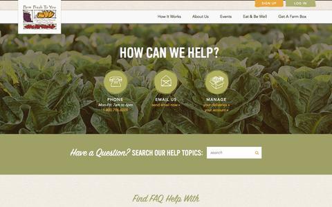 Screenshot of Contact Page farmfreshtoyou.com - Farm Fresh To You - contact-help-faq Page - captured June 5, 2017