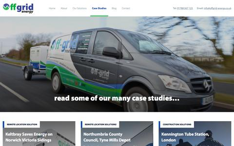 Screenshot of Case Studies Page offgrid-energy.co.uk - read some of our many case studies... - Offgrid - captured Oct. 21, 2019