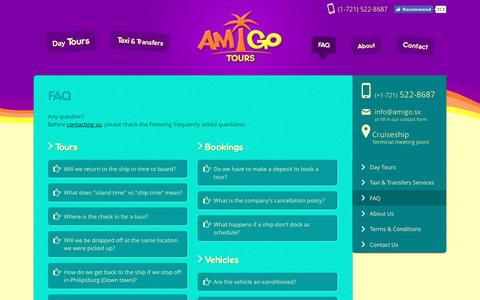 Screenshot of FAQ Page stmaartenamigotours.com - St. Maarten Amigo Tours | Faq - captured March 25, 2016