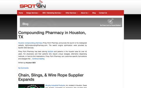 Screenshot of Blog spotonseo.com - Houston SEO and Web Design Blog - captured Jan. 24, 2018