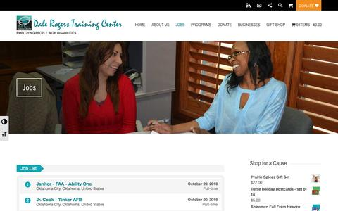 Screenshot of Jobs Page drtc.org - Jobs | Dale Rogers Training Center - captured Nov. 23, 2016