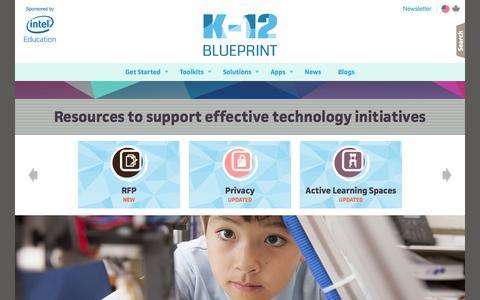 Screenshot of Home Page k12blueprint.com - Technology in Education | K-12 Blueprint - captured Dec. 16, 2015