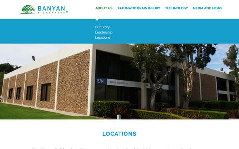 Screenshot of Contact Page Locations Page banyanbio.com - Banyan Biomarkers | Locations - captured Oct. 10, 2017