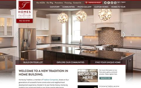 Screenshot of Home Page homesbytradition.com - Custom Home Builders & New Home Communities in Lakeville & Minneapolis MN - captured Oct. 3, 2014