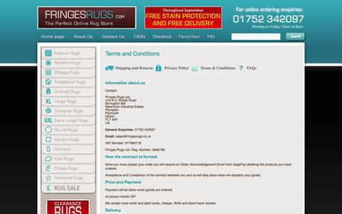 Screenshot of Terms Page fringesrugs.com - The South West's Premier Rug Specialists :: Fringes Rugs - captured Sept. 30, 2014