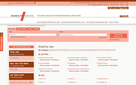 Screenshot of Jobs Page disabilitycrossing.com - Disability Jobs, Browse Jobs in Disability By Job Type, City, State in United States | DisabilityCrossing.com - captured Aug. 7, 2018