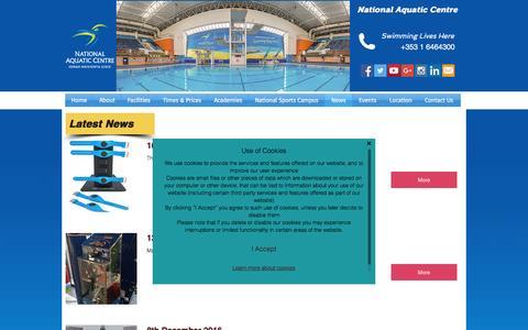 Screenshot of Press Page nationalaquaticcentre.ie - National Aquatic Centre -  News - captured Dec. 21, 2016