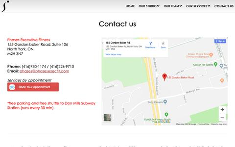 Screenshot of Contact Page phasesexecfit.com - PHASES EXECUTIVE FITNESS STUDIO - Personal Training Studio - Registered Massage Therapy - Naturopathic Medicine - Osteopathy - Physiotherapy - Toronto - North York - VICommunity - captured Sept. 28, 2018