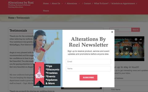 Screenshot of Testimonials Page alterationsbyrozi.com - Testimonials | Alterations by Rozi - captured July 29, 2018