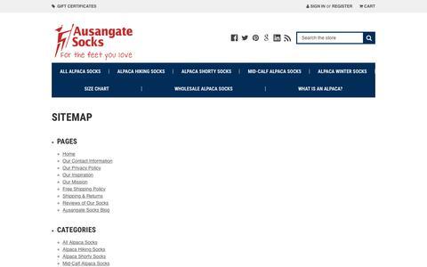 Screenshot of Site Map Page ausangatesocks.com - Sitemap - captured Oct. 4, 2018