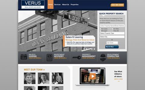 Screenshot of Home Page v-re.com - Verus Real Estate Advisors - captured Oct. 6, 2014
