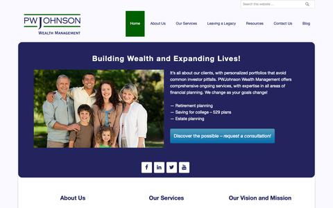 Screenshot of Home Page pwjohnson.com - PWJohnson Wealth Management – Building Wealth, Expanding Lives - captured Sept. 26, 2018