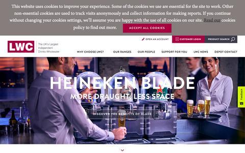 Screenshot of Home Page lwc-drinks.co.uk - LWC Drinks Ltd   The UK's Largest Independent Drinks Wholesaler - captured Oct. 29, 2019
