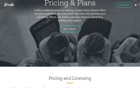 Screenshot of Pricing Page jirafe.com - jirafe - captured Dec. 2, 2015