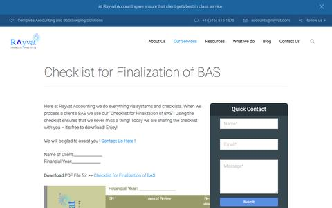 Checklist for Finalization of BAS