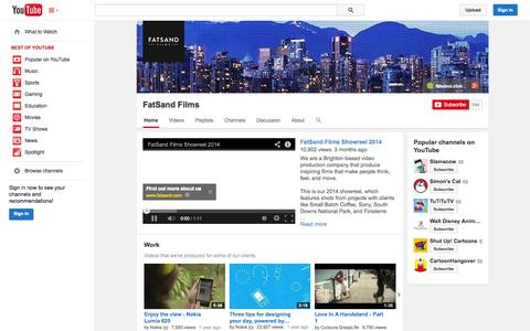 Screenshot of YouTube Page youtube.com - FatSand Films  - YouTube - captured Oct. 22, 2014