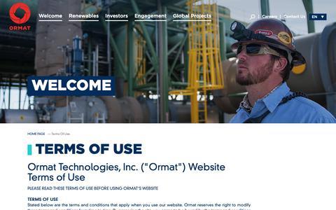 Screenshot of Terms Page ormat.com - Ormat Technologies Inc. - Ormat Technologies Inc. - Terms of Use - captured Nov. 17, 2018