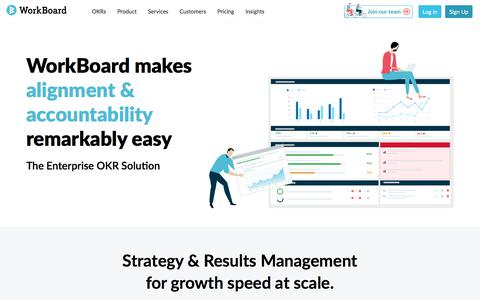 Screenshot of Home Page workboard.com - Strategy & Results Management and OKRs for Fast Growth | WorkBoard - captured Aug. 15, 2019