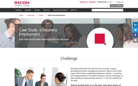 Screenshot of Case Studies Page ricoh-usa.com - Case Study: eDiscovery Employment | Ricoh USA - captured Jan. 3, 2019