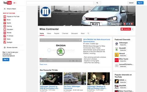 Screenshot of YouTube Page youtube.com - Miles Continental  - YouTube - captured Oct. 25, 2014